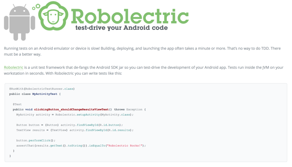 Roboelectric - Software Testing Tools Guide