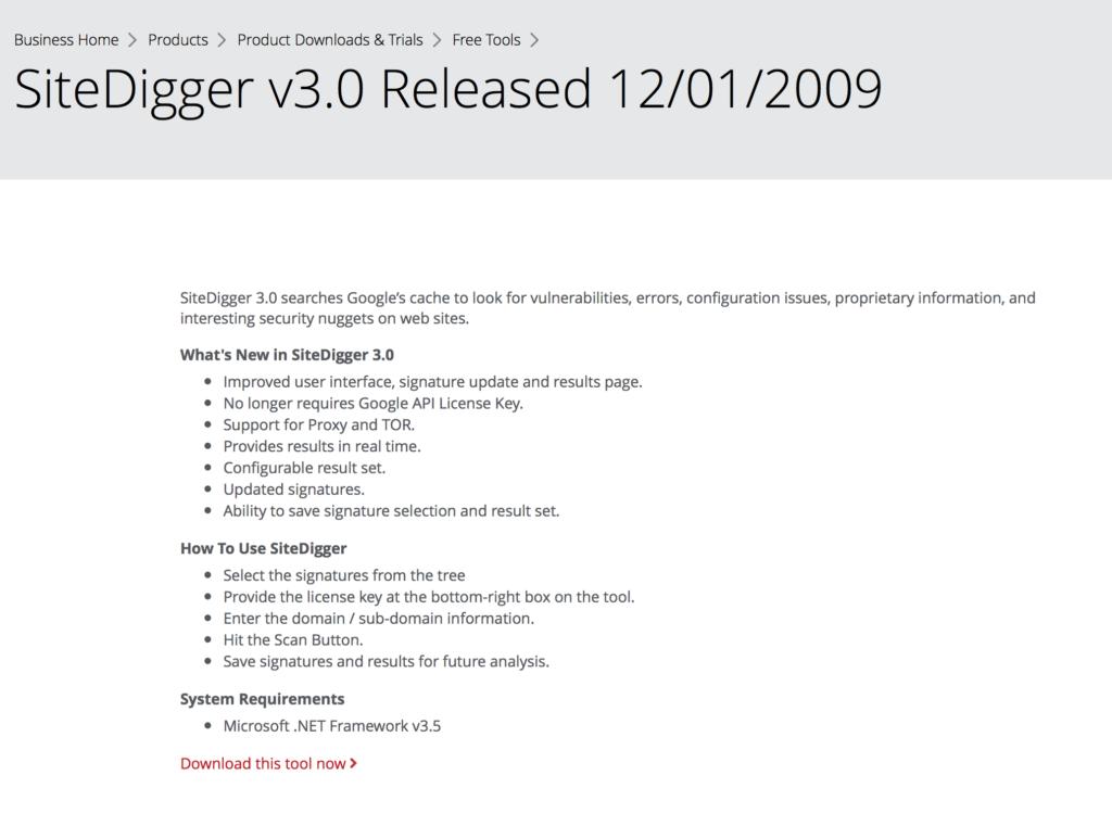 SiteDigger - Software Testing Tools Guide